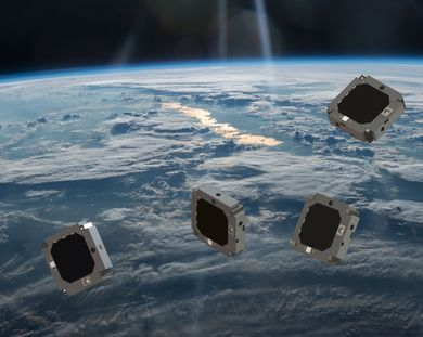 A swarm of miniaturized satellites (artist's impression)